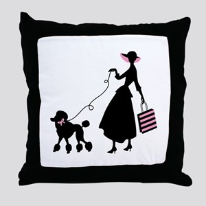 French Poodle Shopping Woman Throw Pillow