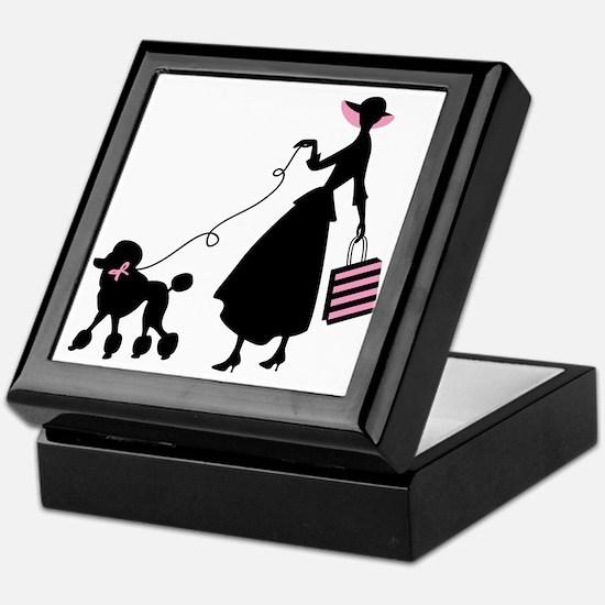 French Poodle Shopping Woman Keepsake Box