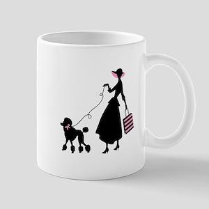 French Poodle Shopping Woman Mugs