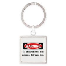 Wine Warning Square Keychain