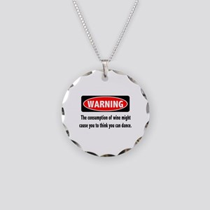 Wine Warning Necklace Circle Charm