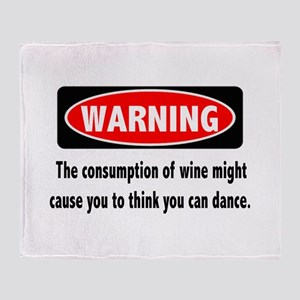 Wine Warning Throw Blanket