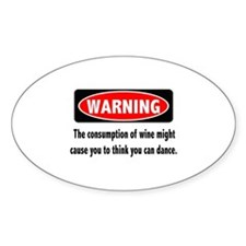 Wine Warning Sticker (Oval)
