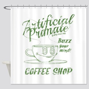 Vintage coffee shop Shower Curtain