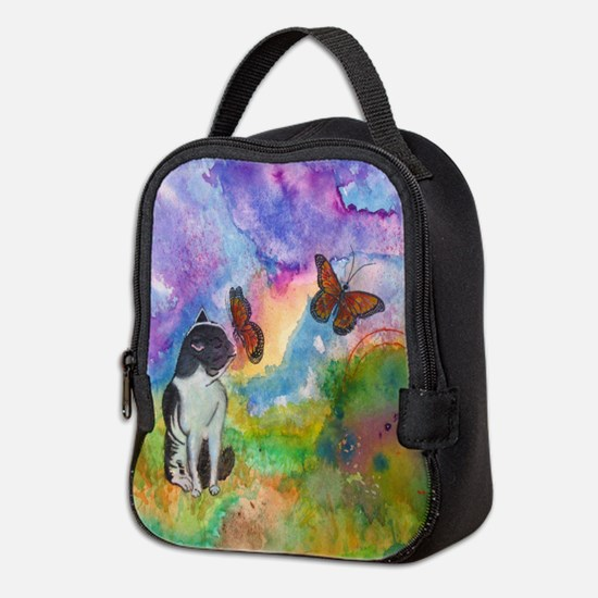 Cat And Monarchs Neoprene Neoprene Lunch Bag