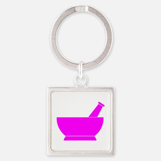 Pink Mortar and Pestle Square Keychain