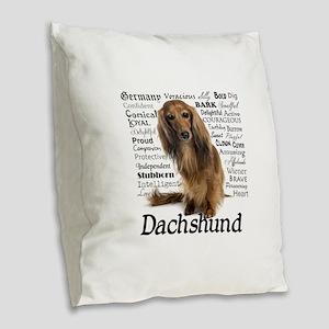 Dachshund Traits Burlap Throw Pillow