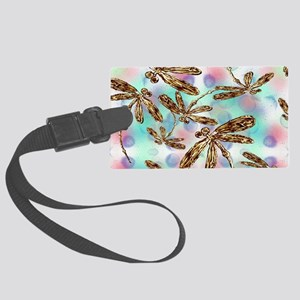 Golden Dragonfly Summer Large Luggage Tag
