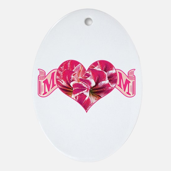 Mom's heart with amaryllis Oval Ornament