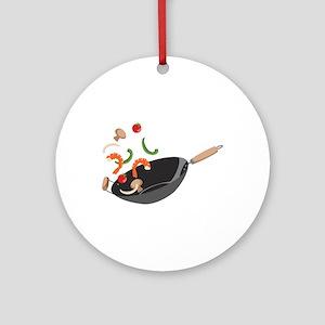 Wok Vegetables Shrimp Ornament (Round)