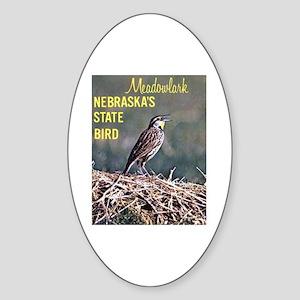 Meadowlark Bird Oval Sticker
