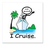 Cruising Stick Figure Square Car Magnet 3