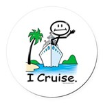 Cruising Stick Figure Round Car Magnet