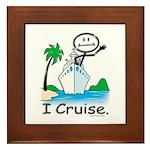 Cruising Stick Figure Framed Tile