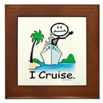 Cruising Stick Figure Framed Tile