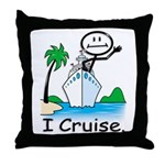 Cruising Stick Figure Throw Pillow