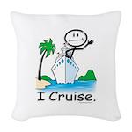 Cruising Stick Figure Woven Throw Pillow