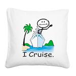 Cruising Stick Figure Square Canvas Pillow