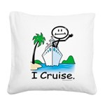 Cruising Stick Figure Square Canvas Pillow