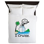 Cruising Stick Figure Queen Duvet