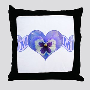 Mom's heart with pansy Throw Pillow
