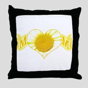 Mom's heart with daisy Throw Pillow