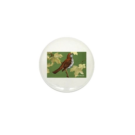 Wood Thrush Bird Mini Button (10 pack)