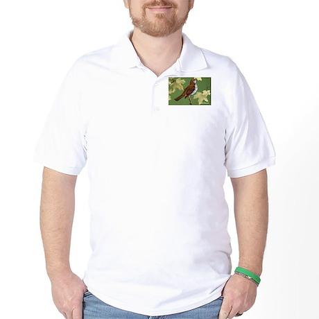 Wood Thrush Bird Golf Shirt