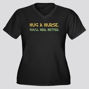 Hug a Nurse Women's Plus Size V-Neck Dark T-Shirt