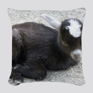 Curled Up Baby Goat Woven Throw Pillow