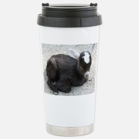 Curled Up Baby Goat Stainless Steel Travel Mug