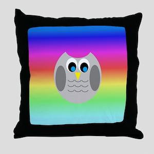 Owl (Rainbow) Throw Pillow