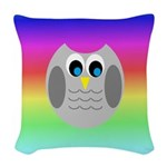 Owl (Rainbow) Woven Throw Pillow