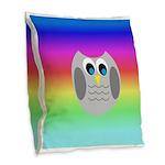 Owl (Rainbow) Burlap Throw Pillow