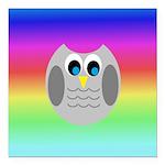 Owl (Rainbow) Square Car Magnet 3