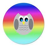 Owl (Rainbow) Round Car Magnet