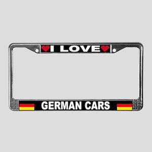 I Love German Cars License Plate Frame