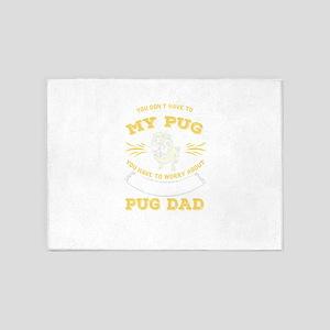 Pug Dog design 5'x7'Area Rug