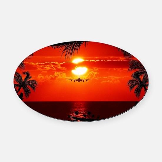 Wonderful Sunset Oval Car Magnet