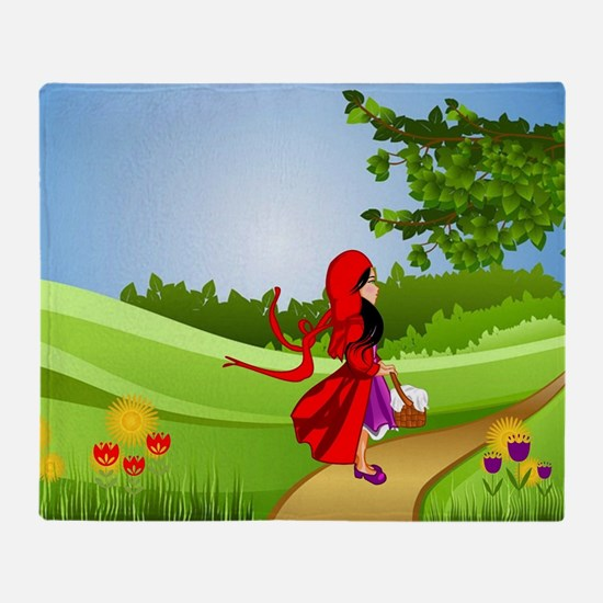 Little Red Riding Hood Taking a Walk Throw Blanket