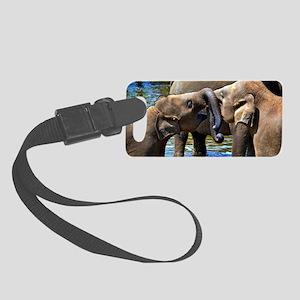 Sweet Kissing Elephant Small Luggage Tag