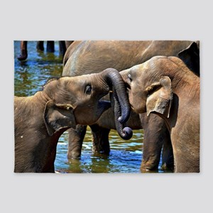 Sweet Kissing Elephant 5'x7'Area Rug