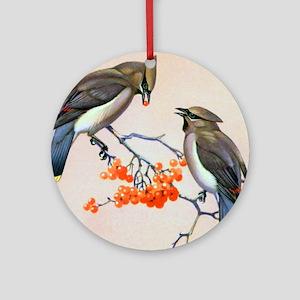 Cedar Waxwing Bird Ornament (Round)