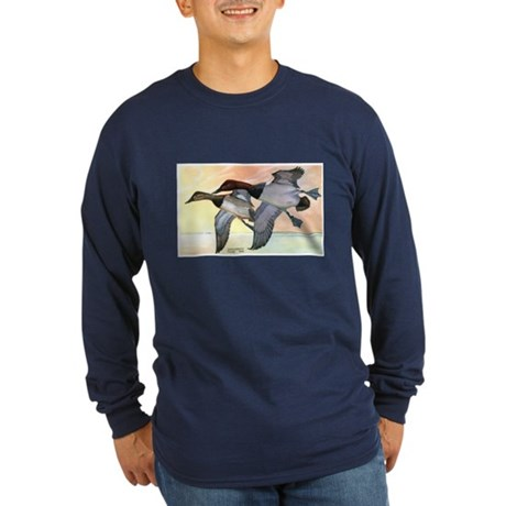 Canvasback Duck (Front) Long Sleeve Dark T-Shirt