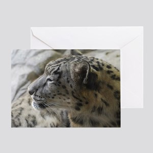 Snow Leopard Profile Greeting Card