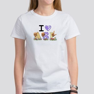 I Love ASL & Spring Flowers Women's T-Shirt