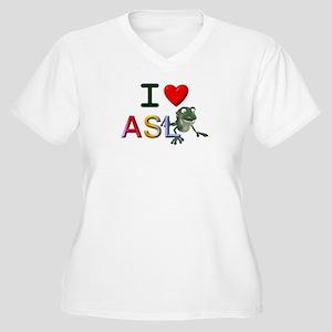 I Love ASL & Frogs Women's Plus Size V-Neck T-Shir
