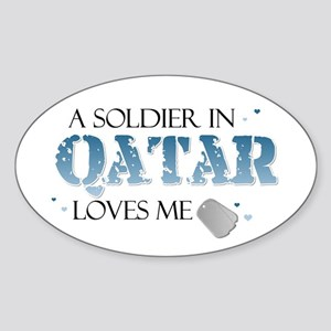 A Soldier in Qatar Loves me Oval Sticker