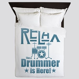 Relax The Drummer is Here Queen Duvet