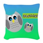 BLESSED (Owls) Woven Throw Pillow